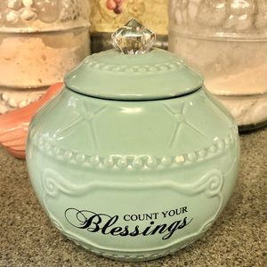 NWT Blessings Jar teal Farmhouse room decor